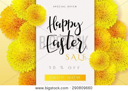Vector Illustration Of Easter Promotion Banner Template With Hand Lettering Label - Happy Easter - W