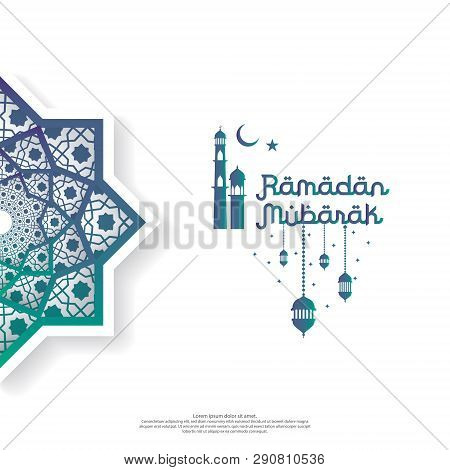 Ramadan Mubarak Concept With Vector Typography And Abstract Islamic Mandala For Invitation Banner, F