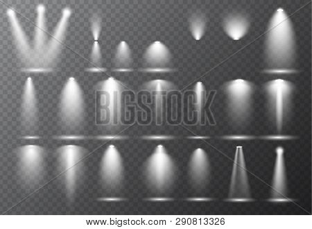 Vector Light Sources, Concert Lighting, Stage Beam Spotlights Set  Lens Flash Effect. Spot Lamp Proj