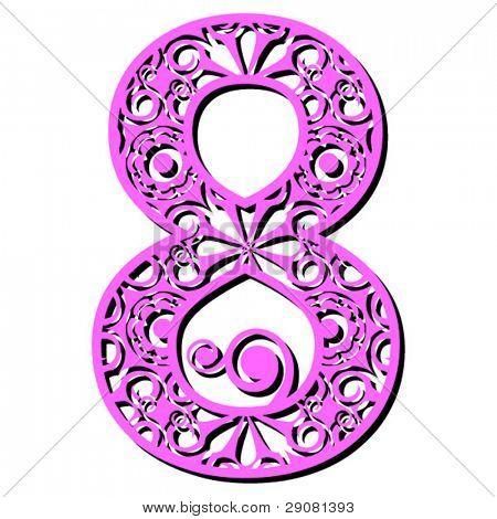 openwork numerals, number eight