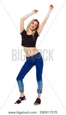 Front view of a woman who dances. girl watching. Isolated over white background. A smiling girl is dancing.