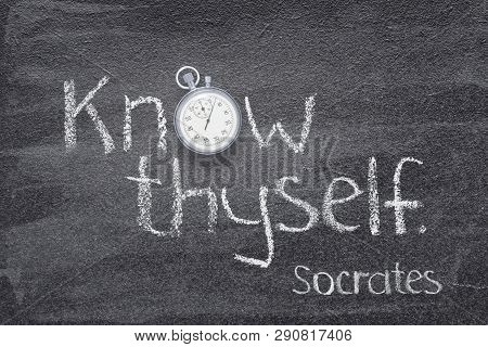 Know Thyself - Quote Of Ancient Greek Philosopher Socrates Written On Chalkboard With Vintage Stopwa