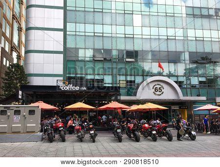 Saigon, Vietnam - Feb 28, 2016. Facade Of Modern Coffee Shops In Saigon, Vietnam. Saigon (ho Chi Min