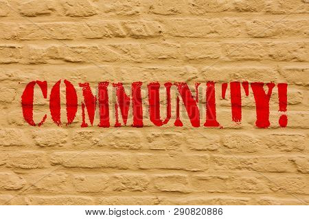 Handwriting text Community. Concept meaning Neighborhood Association State Affiliation Alliance Unity Group Brick Wall art like Graffiti motivational call written on the wall. poster