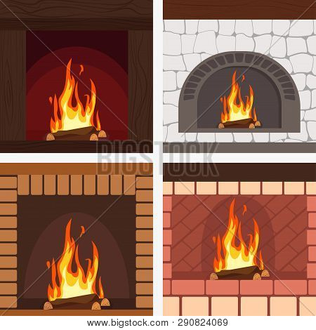 Fireplaces Wooden And Stone Decoration Set Vector