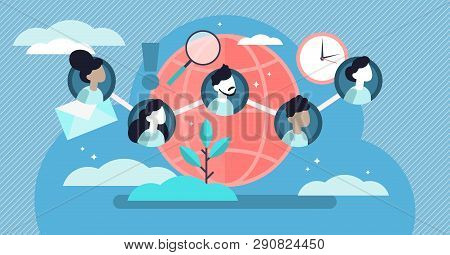 Social Community Vector Illustration. Flat Tiny Linked Persons Group Concept. Communication Media Pl