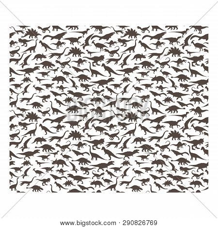 Vector Pattern. Set Of Herbivores And Carnivorous Dinosaurs