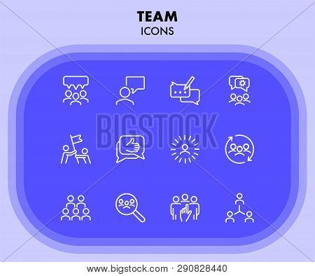 Team Icons. Set Of Line Icons. Human Resource, Hr Management, Corporate Structure. Working In Team C