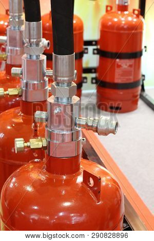 Automatic gas extinguishing installation. Modular gas fire extinguishing systems. Cylinders to extinguish the fire. Fire extinguisher. poster