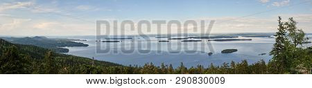 Summer Panorama View Over The Lake Pielinen From The Top Of The Ukkokoli, A Fell At The National Par
