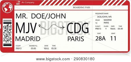 Red Vector Pattern Of A Boarding Pass Ticket. Concept Of Trip Or Travel. Boarding Pass Required For