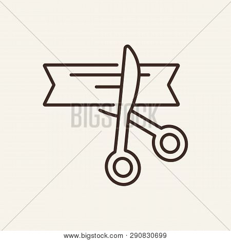 Opening Line Icon. Scissors, Ribbon Cut, Grand Ceremony. Strategy Concept. Vector Illustration Can B