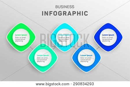 Business Infographic Data Visualization Diagram. Timeline Icons Vector Template, Milestone Elements