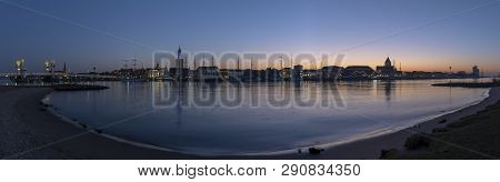 Kampen, Netherlands - February 27, 2019: Panorama Of The Monumental City Of Kampen At The River Ijss