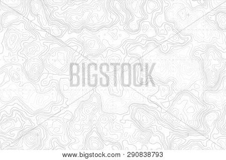 Abstract Blank Topographic Contour Map Subtle White Vector Background