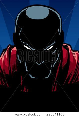 Silhouette Ilustration Of The Portrait Of Powerful Superhero Looking At Camera With Tough Facial Exp
