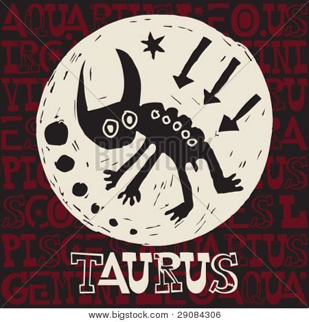 crazy horoscope doodles, sign of the zodiac taurus