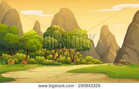 Illustration Of Trees And Mountains In The Evening Atmosphere.