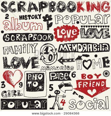 hand drawn scrapbooking elements, decorative doodle set