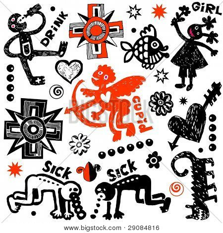 crazy doodle set, hand drawn design elements poster