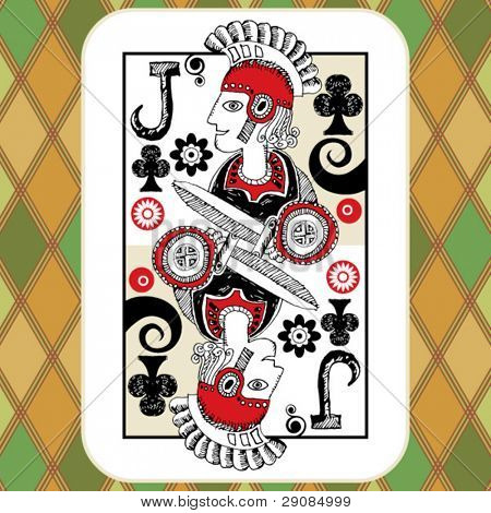 hand drawn deck of cards, doodle jack of clubs
