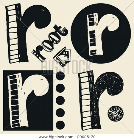 scribble alphabet, crazy doodle R