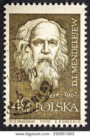 Fort Collins, CO, USA - March 19, 2019: Dmitri Mendeleev, Russian chemist and inventor,  portrait on a vintage, canceled post stamp from Poland (circa 1959).