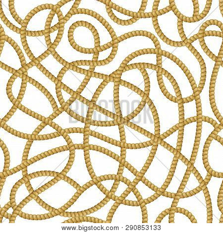 Seamless Pattern With Fiber Ropes For Fabric Design, Prints. Jute Or Hemp Twisted Cords. Vector 3d R