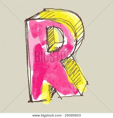 childlike gouache alphabet, hand drawn letter R