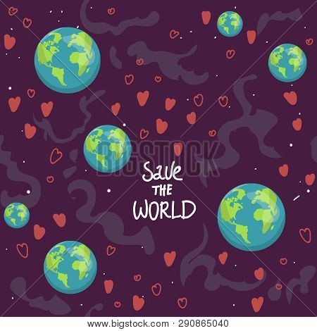 Earth Cartoon Globe, Hearts Web Icons Green Happy Nature Character. Love Ecology Earth Planet World