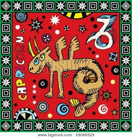 naive hand drawn horoscope, doodle sign of the zodiac capricorn