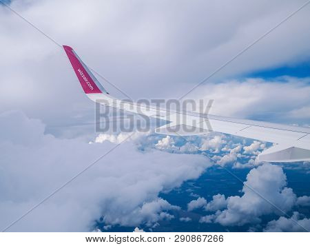 Flight Dortmund-kyiv.july 2018 . View From Airplane Window: Wing Of