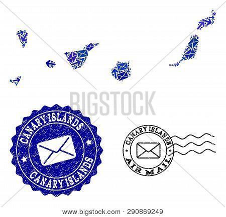Mail Combination Of Blue Mosaic Map Of Canary Islands And Dirty Seals. Vector Seals With Distress Ru