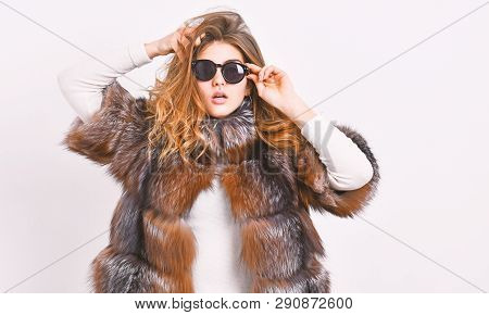 Fur Fashion Concept. Female Brown Fur Coat. Fur Store Model Enjoy Warm In Soft Fluffy Coat With Coll