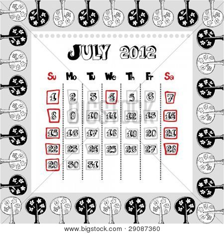 doodle calendar for year 2012, July