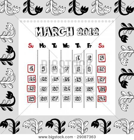 doodle calendar for year 2012, March