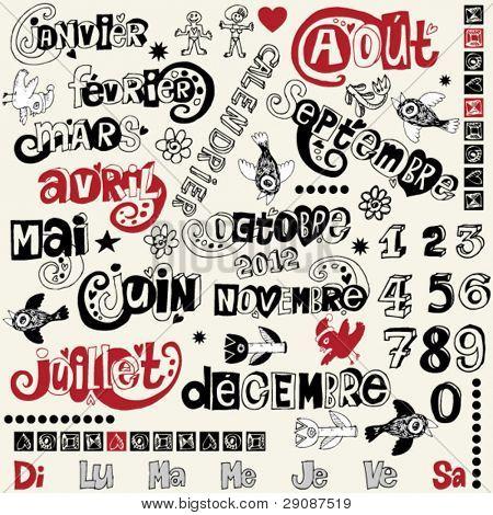 doodle french calendar