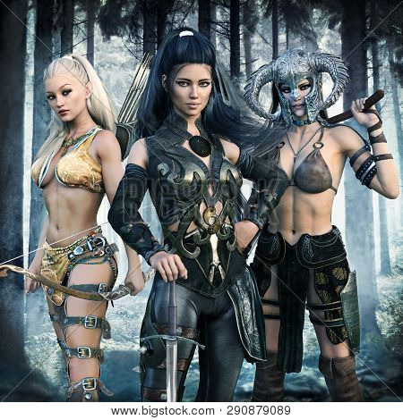 Portrait Of A Group Of Fantasy Females Embarking On An Epic Adventure. 3d Rendering