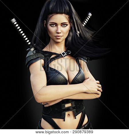 Beautiful Ninja Female Assassin , Confident Pose On A Black Background. 3d Rendering