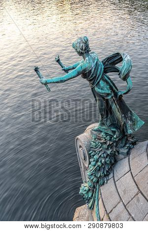 Torch Bearer Woman Figure - Bronze Decoration Of Svatopluk Cech Bridge Over Vltava River In Prague,