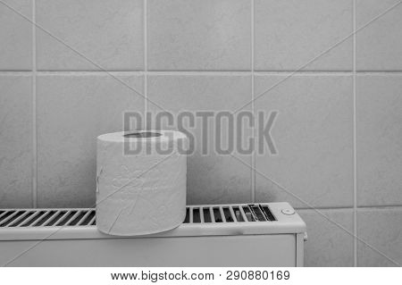 A Roll Of Toilet Paper Stands On A Radiator