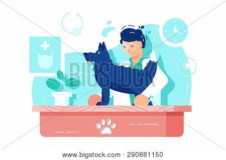 Funny Dog At Vet Clinic Vector Illustration