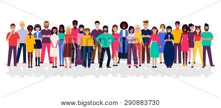 A Group Of People Standing On A White Background. Business People And Business Women In Flat Design