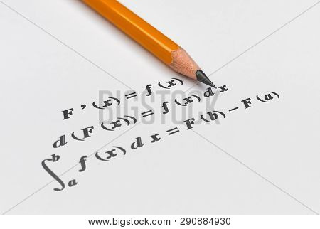 Fundamental theorem in differential and integral calculus on bright background poster