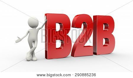 3d render of man standing with b2b poster