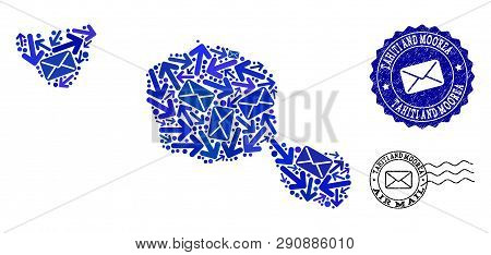 Mail Combination Of Blue Mosaic Map Of Tahiti And Moorea Islands And Corroded Stamp Seals. Vector Se