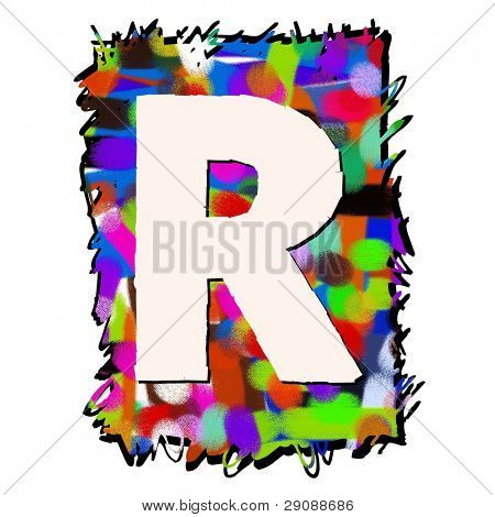 childlike graffiti alphabet, hand drawn letter R isolated on white background poster