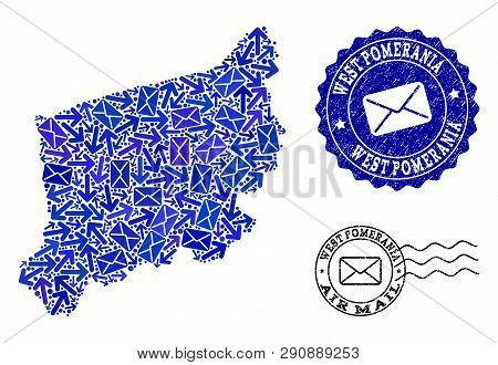 Post Collage Of Blue Mosaic Map Of West Pomerania Province And Dirty Seals. Vector Seals With Corrod