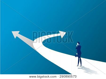 New Way Concept. Beginning Journey Adventures And Opportunities. Businessman On Road Outdoor.  Illus