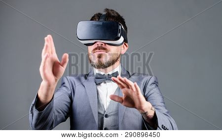 Digital Surface Interaction. Business Man Virtual Reality. Innovation And Technological Advances. Bu